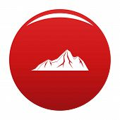 Tall Mountain Icon. Simple Illustration Of Tall Mountain Vector Icon For Any Design Red poster