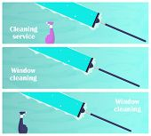 Window Cleaning Horizontal Banners. Glass Scraper Glides Over The Glass, Making It Clean. Window Cle poster
