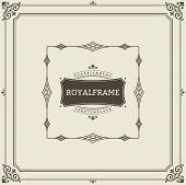 Vintage Ornament Greeting Card Vector Template. Retro Luxury Invitation, Royal Certificate. Flourish poster