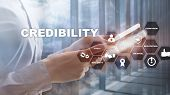 Corporate Credibility Improvement Concept. Multiple Exposure, Mixed Media Background poster