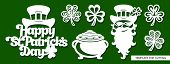 Set Of Decoration For March 17:  Leprechaun, Pot Full Of Golden Coins, Shamrock. Template For Laser  poster
