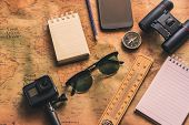 Notepad For Note With Binoculars Pencil, Compass On Paper Map For Travel Adventure Discovery Image poster