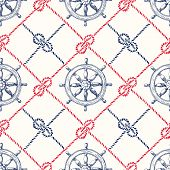 Hand-drawn Diagonal Plaid With Sailing Ropes, Zeppelin Knotsand Vessel Steering Wheel Vector Seamles poster