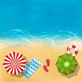 Vector Summer Beach Landscape With Sand, Water, Umbrellas And Blankets Background Illustration. Ocea poster