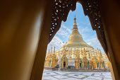 The Shwedagon Pagoda One Of The Most Famous Pagodas In The World The Main Attraction Of Yangon. Myan poster