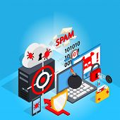 Cyber Defence Concept Banner. Isometric Banner Of Cyber Defence Vector Concept For Web, Giftcard And poster