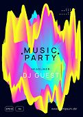 Music Flyer. Fluid Holographic Gradient Shape And Line. Electronic Sound. Night Dance Lifestyle Holi poster