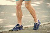 Legs Of Male Athlete Runner Jogging Park Sidewalk. Active Lifestyle Training Cardio Sport Shoes. Vas poster
