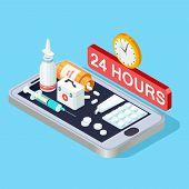Online Pharmacy Isometric Concept, 24 Hours Pharmacy App Vector Illustration. Online App, Pharmacy A poster