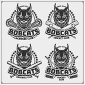 Cricket, Lacrosse, Baseball And Hockey Logos And Labels. Sport Club Emblems With Bobcat. Print Desig poster