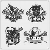 Set Of Lacrosse Badges, Labels And Design Elements. Sport Club Emblems With Grizzly Bear, Panther, C poster