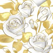 Flowers Roses On A White Background. Vector Seamless Pattern. Gold And White Floral Design. Vintage. poster