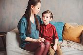 Happy Mother Reading Book To Child Son At Home, Learning Toddlers To Read, Family Life Concept poster