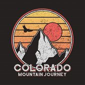 Colorado Typography Graphics With Mountains And Eagle. Vintage Print For Slogan Tee Shirt. Grunge T- poster