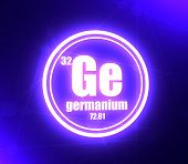 Germanium Chemical Element. Sign With Atomic Number And Atomic Weight. Chemical Element Of Periodic  poster
