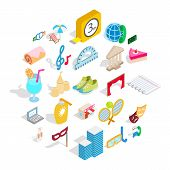 Entertainment For Everyone Icons Set. Isometric Set Of 25 Entertainment For Everyone Vector Icons Fo poster