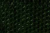 Forest Green Sparkling Bubbles, Brilliant Plastic Cellophane Drops Texture Eco-protection Background poster