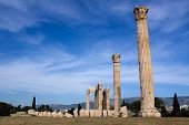 stock photo of olympian  - Columns of Ancient Temple of Olympian Zeus in Athens Greece on blue sky background - JPG
