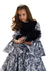 picture of toddlers tiaras  - Little Cute Princess in Black Grey Dress