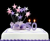 picture of 50th  - Fancy cake with number 50 candles - JPG