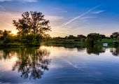 image of bluegrass  - Sunset scene on a small lake in Central Kentucky - JPG