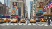 Yellow Taxis At The New York City Street