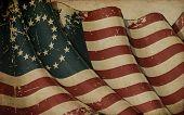 stock photo of civil war flags  - Illustration of an aged waving American civil war Union  - JPG