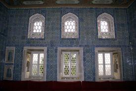 stock photo of eunuch  - Room with blue tiles inside Harem in Topkapi Istanbul - JPG
