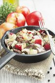 picture of liver fry  - Chicken liver stewed with apples and onion in the frying pan - JPG
