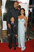WESTWOOD, CA - DECEMBER 07: Will Smith with Jaden Christopher Syre Smith and Jada Pinkett Smith at t