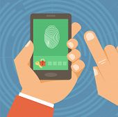 stock photo of fingerprint  - Vector security concept in flat style  - JPG