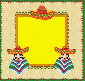 foto of sombrero  - Mexican frame with man in sombrero  - JPG