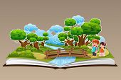 pic of pop up book  - A vector illustration of pop up book with a forest theme - JPG
