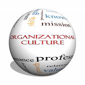 Organizational Culture 3D Sphere Word Cloud Concept