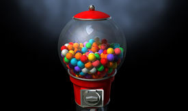 picture of gumball machine  - A regular red vintage gumball dispenser machine made of glass and reflective plastic with chrome trim filled with multicolored gumballs on a dark moody background - JPG