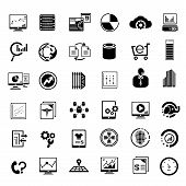 stock photo of medical chart  - set of 36 big data management icons - JPG