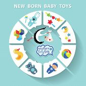 pic of born  - Cute Baby born toys infographic with sample new born icons in flat style - JPG