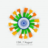 foto of indian independence day  - Beautiful flower design in Indian national flag colors with ashoka wheel on blue background  for 15th of August - JPG
