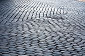 stock photo of pavestone  - grey cobblestone street pavement pattern closeup texture  - JPG