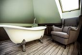 pic of attic  - Interior of luxury bathroom in the attic - JPG