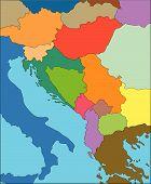 stock photo of former yugoslavia  - Former Yugoslavia Regional Map with individual Countries - JPG