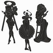 picture of muse  - Vector silhouettes of art lady - JPG