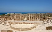 stock photo of libya  - The Theater at the spectacular ruins of Leptis Magna near Al Khums Libya - JPG