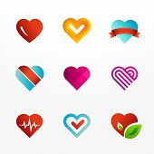stock photo of amour  - Heart symbol vector logo and icons set - JPG