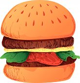 picture of veggie burger  - Vector Illustration of a burger sandwich - JPG