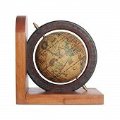 stock photo of longitude  - Old globe isolated on white with clipping path - JPG