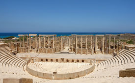 pic of libya  - The Theater at the spectacular ruins of Leptis Magna near Al Khums Libya - JPG