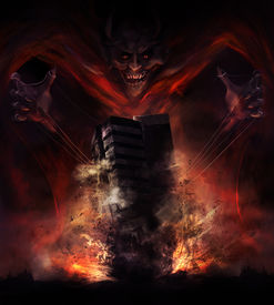 picture of possession  - Smiling demon looking creature destroying building with a rope hold illustration - JPG