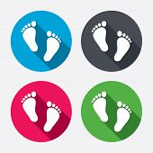 stock photo of barefoot  - Child pair of footprint sign icon - JPG