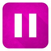 pic of christmas song  - pause violet flat icon - JPG